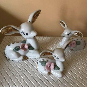 Vintage set of 3 Laying Deer Figurines Japan